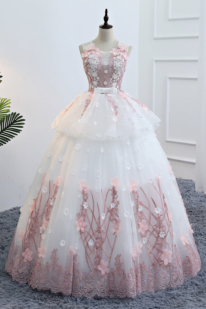 Cute white round neck lace applique long prom gown, evening dress
