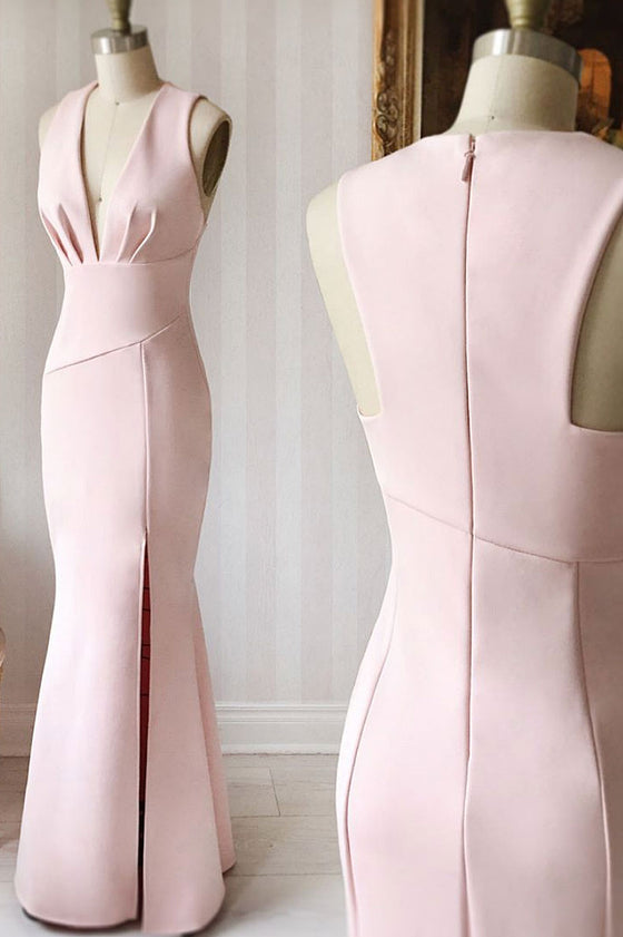 Pink satin mermaid long prom dress, pink evening dress
