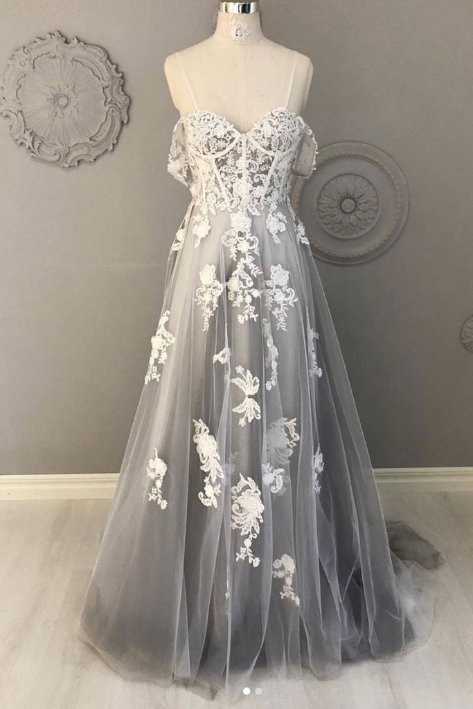 Gray lace sweetheart tulle long prom dress lace formal dress