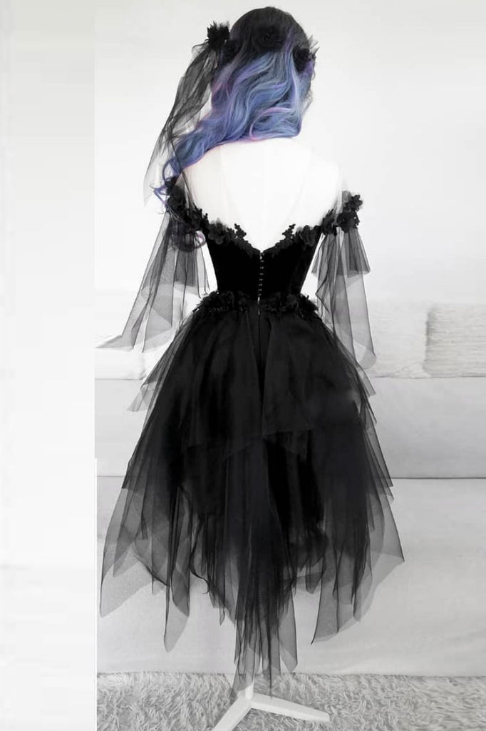 Black round neck tulle lace short prom dress black evening dress