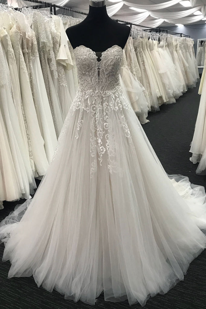 White sweetheart neck tulle lace long prom dress, lace wedding dress