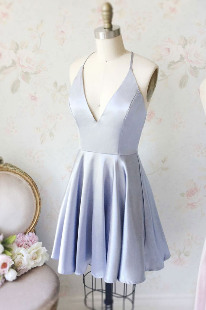 Light blue v neck short prom dress, blue homecoming dress
