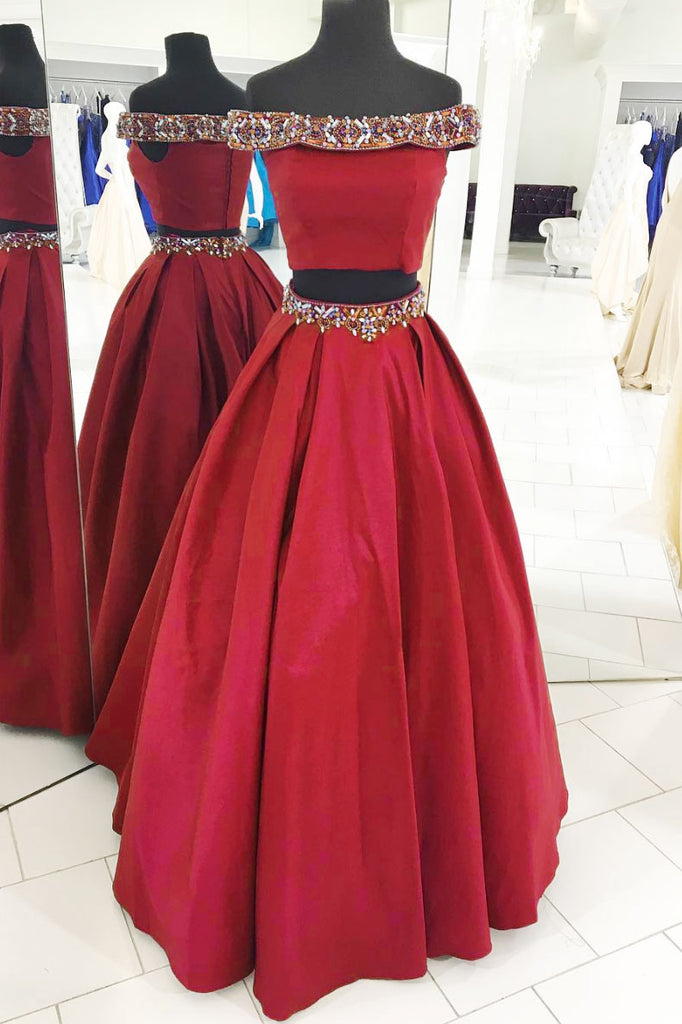 Burgundy two pieces beads long prom dress, burgundy evening dress