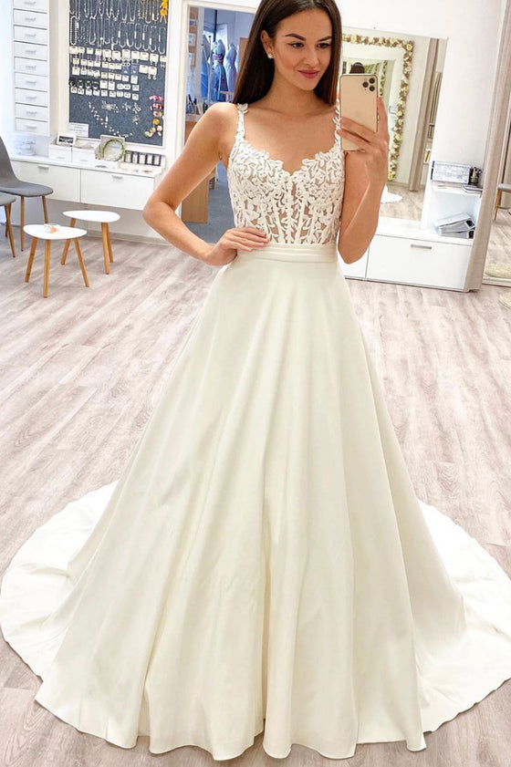 White sweetheart lace satin long prom dress white evening dress