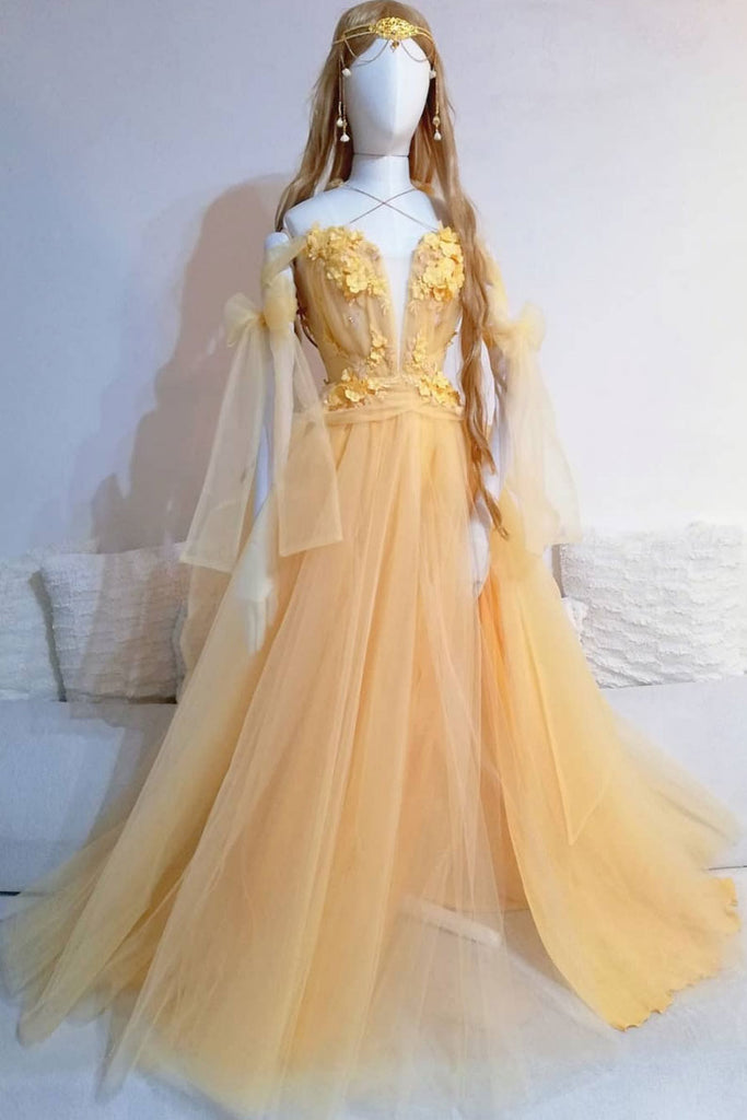 Yellow sweetheart lace tulle long prom dress yellow formal dress