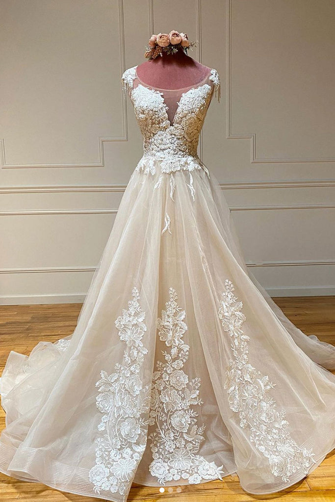 Champagne round neck tulle lace long prom dress lace formal dress