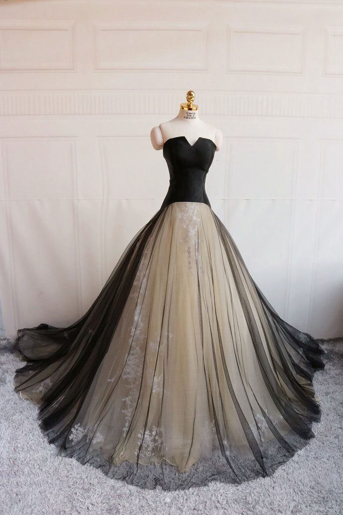 Simple black tulle long prom dress, black evening dress