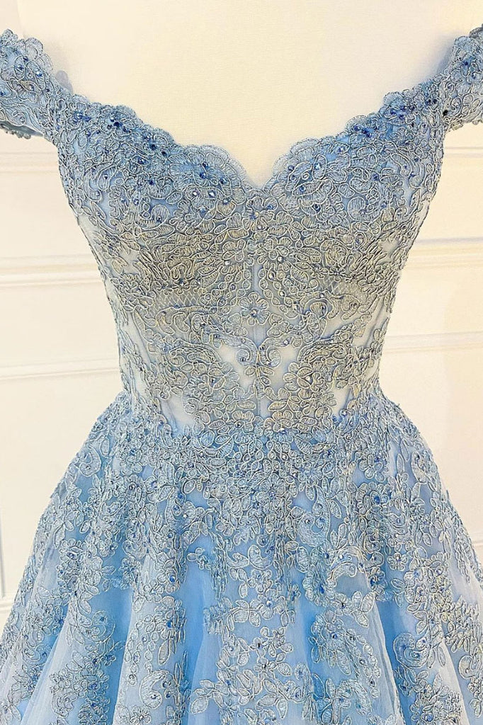 Blue sweetheart off shoulder lace tulle long prom dress lace formal dress