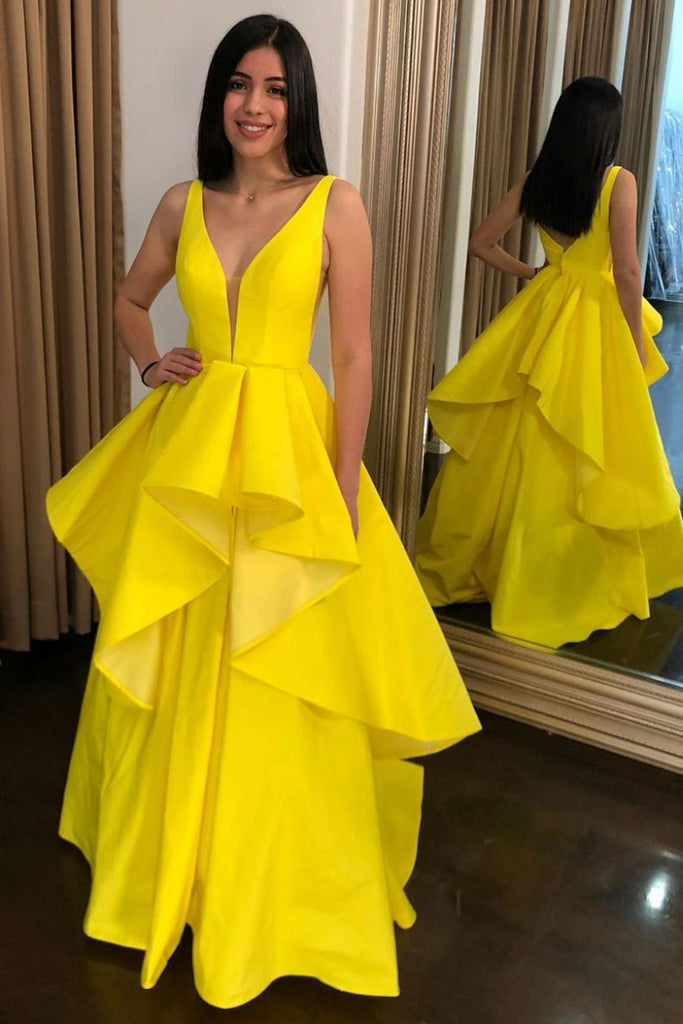 Simple yellow satin long prom dress yellow evening dress