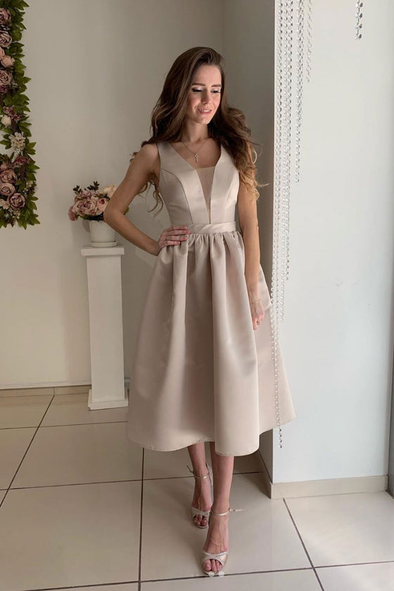 Simple v neck satin bridesmaid dress, tea length prom dress