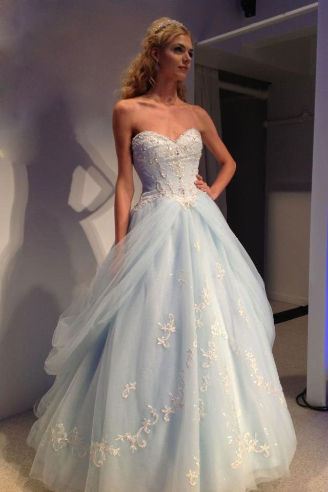 Blue sweetheart neck tulle lace aaplique long prom dress, blue evening dress