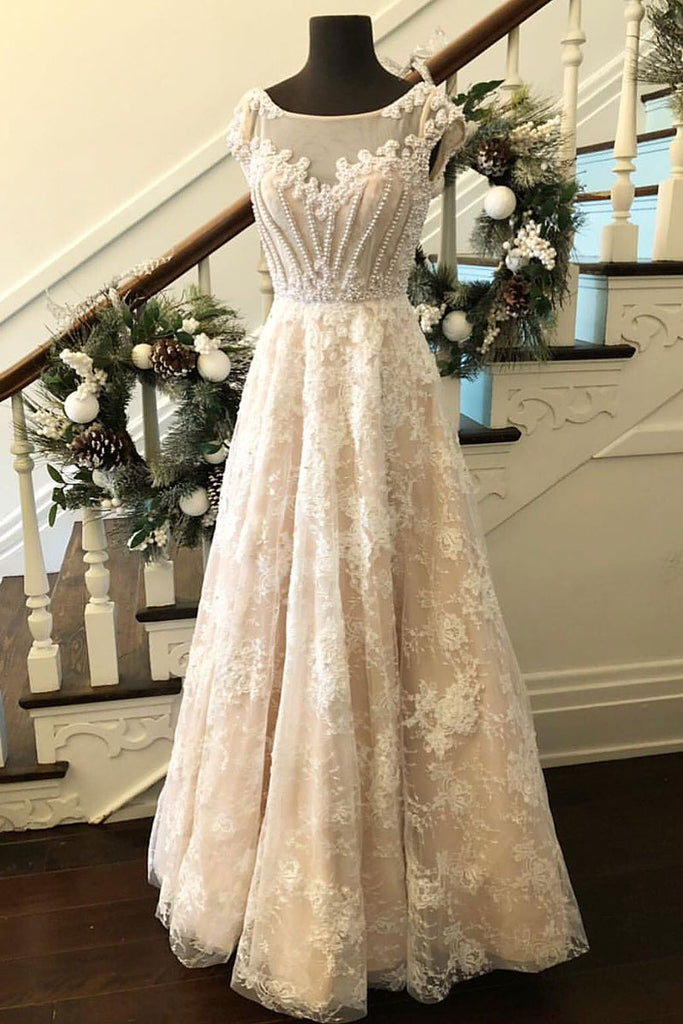 Unique round neck lace long prom dress, lace evening dress