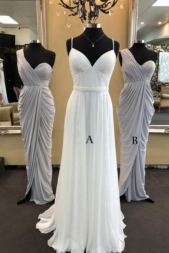 Simple chiffon long prom dress, white chiffon bridesmaid dress