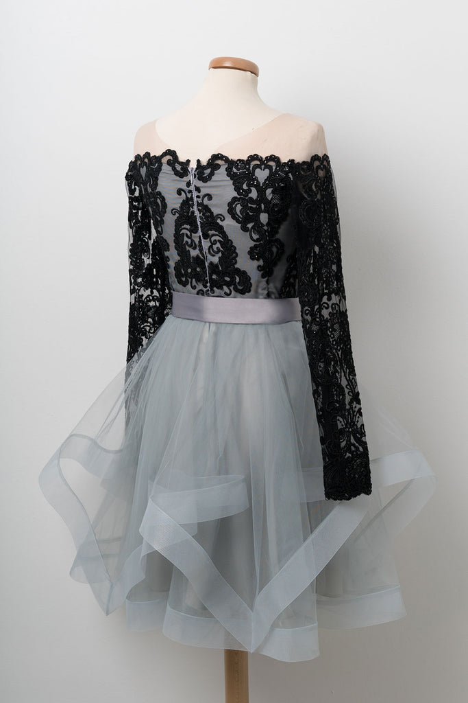 Cute tulle lace applique short prom dress, tulle homecoming dress