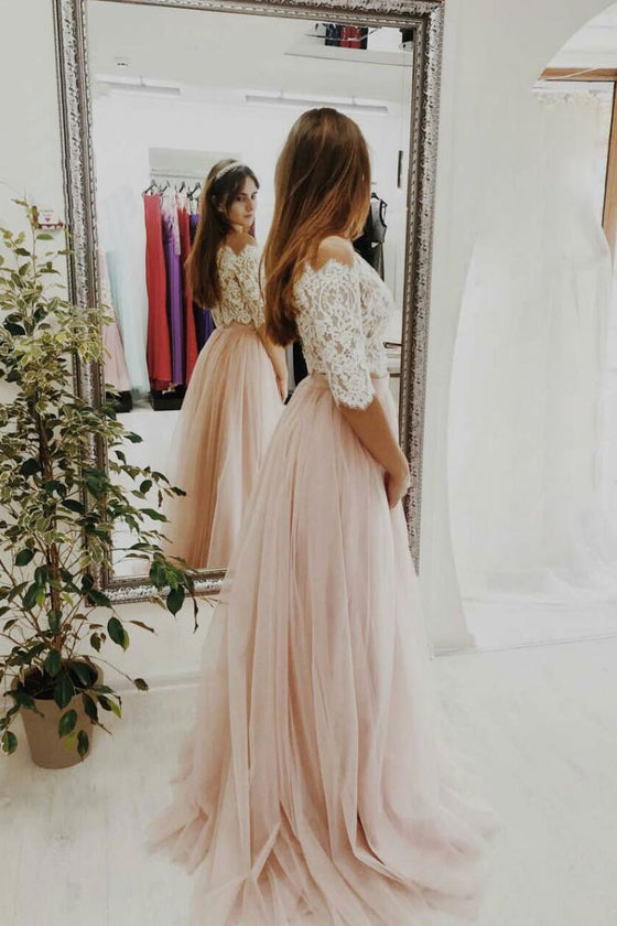 Pink two pieces lace tulle long prom dress, pink tulle evening dress