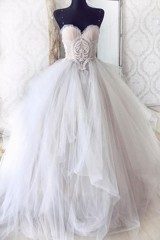 Cute sweetheart lace tulle gray long prom dress gray evening dress