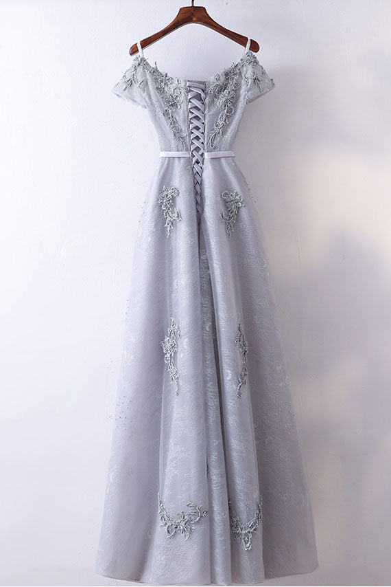 Gray v neck tulle lace beads long prom dress, bridesmaid dress