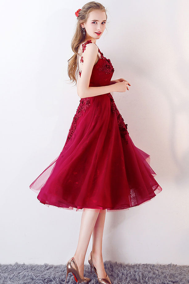 Unique burgundy round neck tulle prom dress, burgundy evening dress