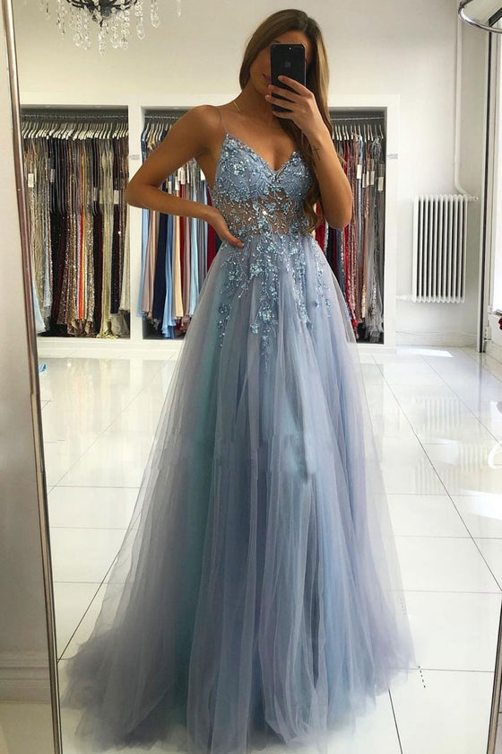Gray blue v neck tulle beads long prom dress blue formal dress