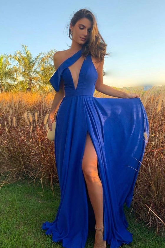 Unique one shoulder blue long prom dress blue evening dress