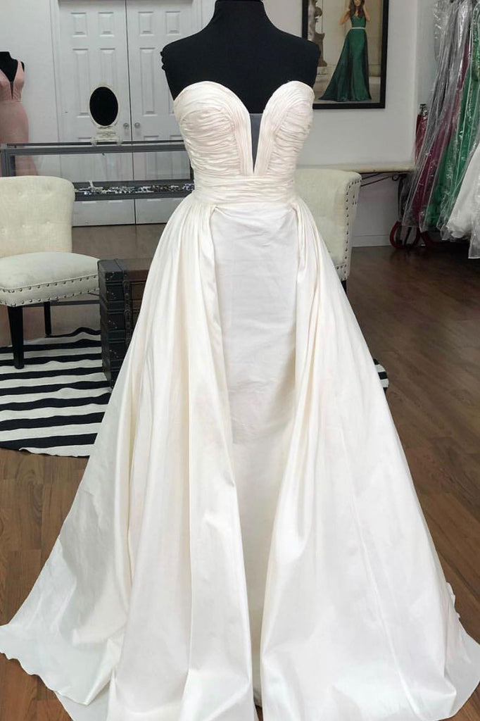 Simple white satin long prom dress. white evening dress