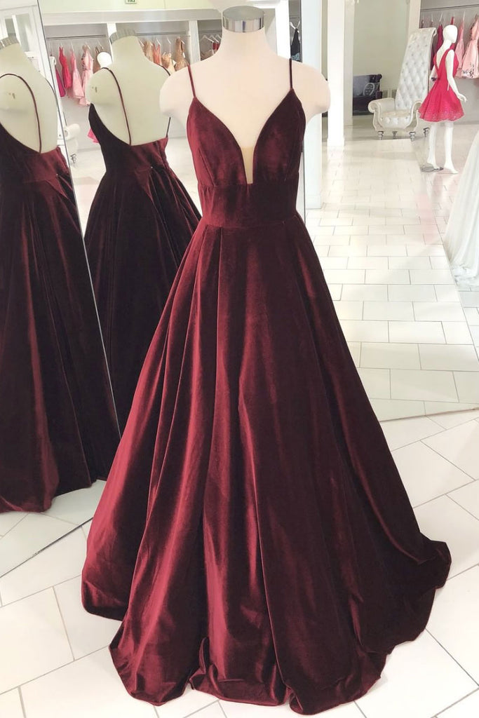 Simple v neck burgundy evening dress, burgundy long prom dress