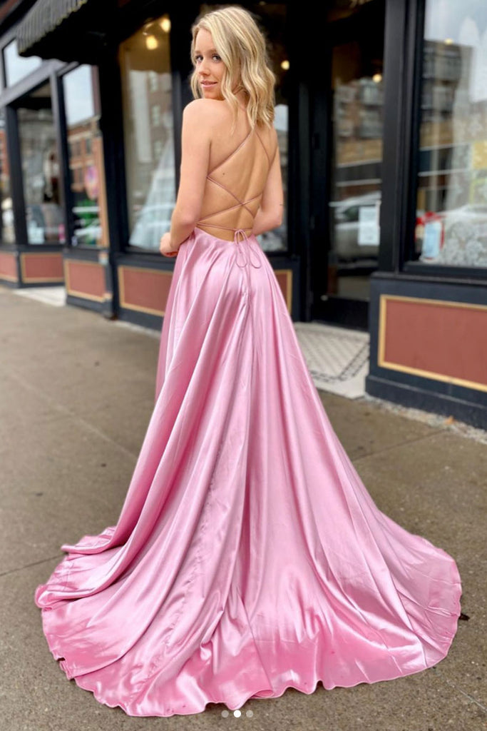Simple v neck satin long prom dress pink long evening dress
