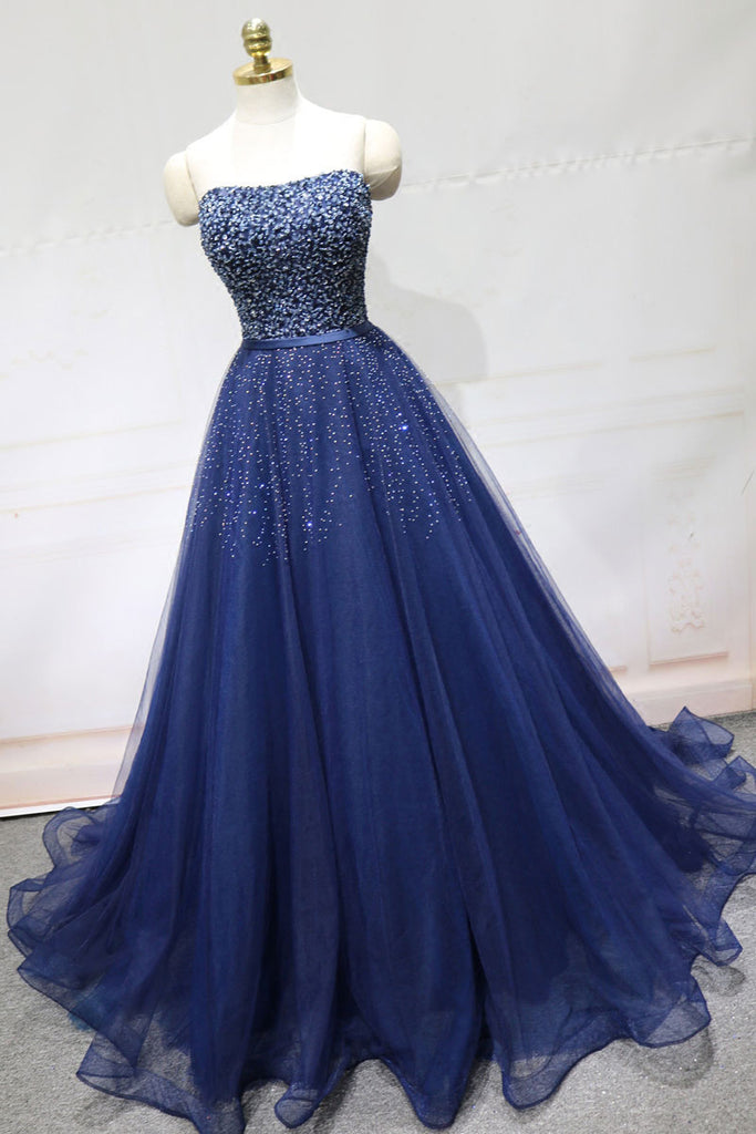 Dark blue tulle sequin long prom dress, blue tulle formal dress
