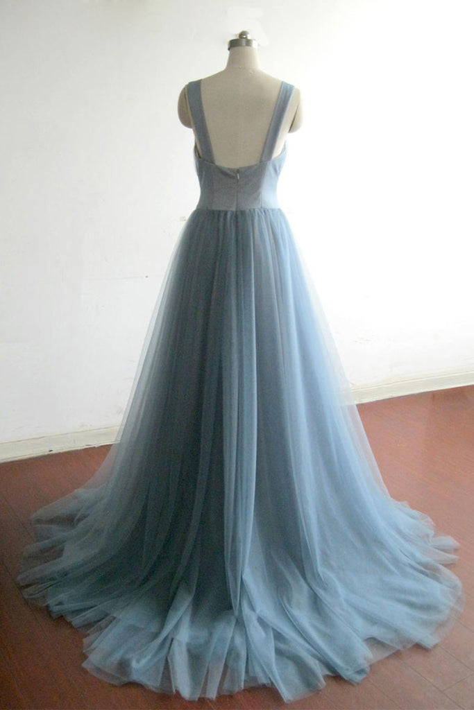 Simple gray blue tulle long prom dress, evening dress
