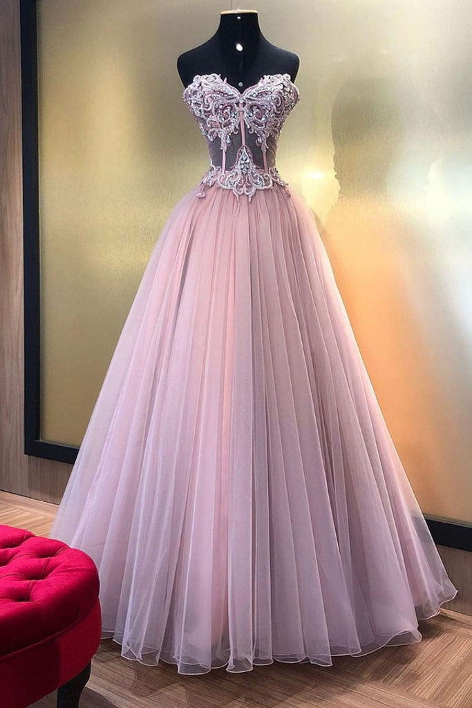 Pink sweetheart tulle lace long prom dress, pink tulle formal dress
