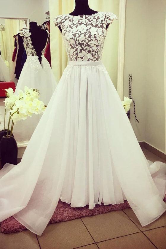 White round neck lace tulle long prom dress, lace evening dress