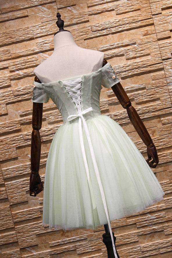 Light green tulle lace applique short prom dress, homecoming dress