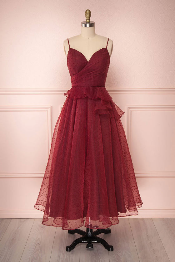 Burgundy sweetheart tulle prom dress, tulle evening dress
