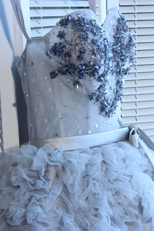 Gray sweetheart neck tulle beads short prom dress, gray homecoming dress