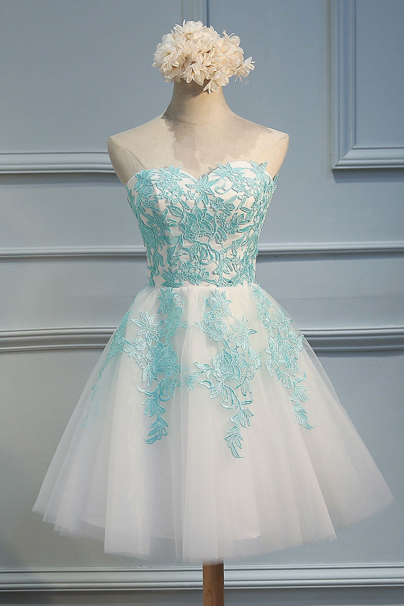 Green lace tulle short prom dress, cute homecoming dress - dresstby