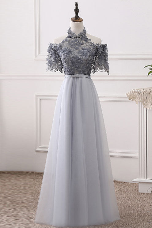 Gray tulle lace long prom dress, gray evening dress
