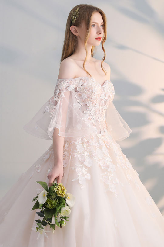 Champagne wedding dress pictures