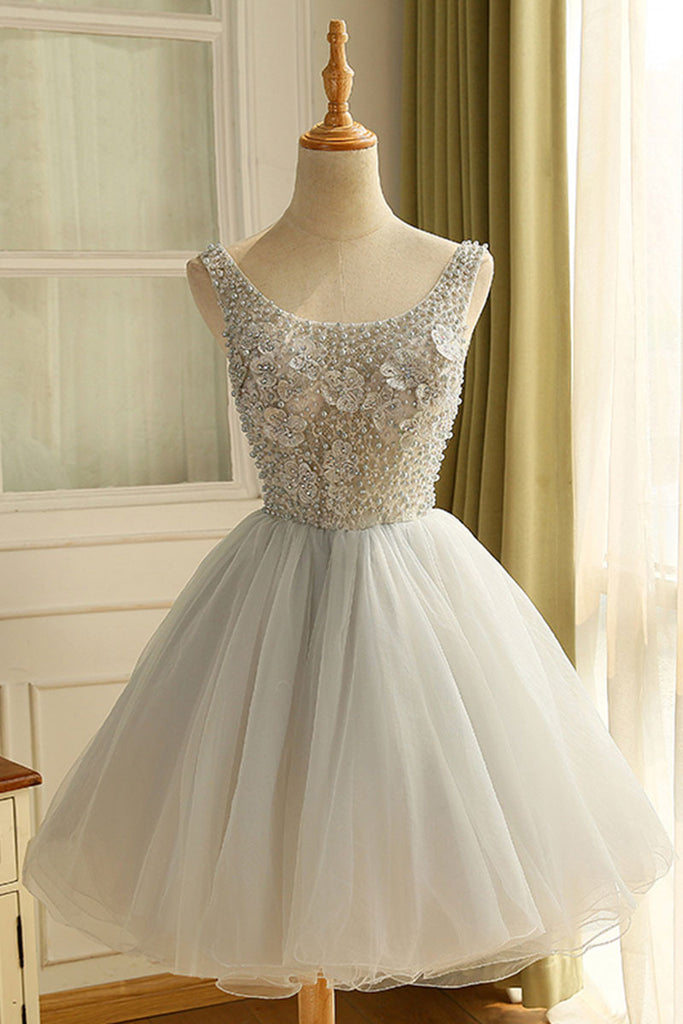 Gray round neck tulle short prom dress, cute homecoming dress