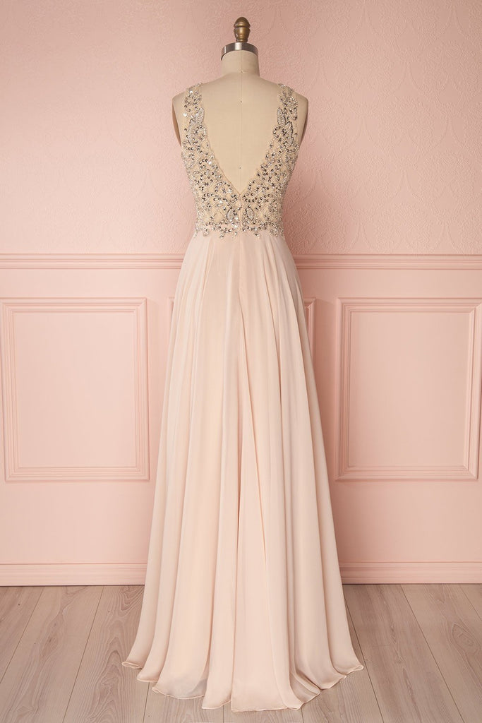 Pink v neck beads sequin long prom dress, pink evening dress