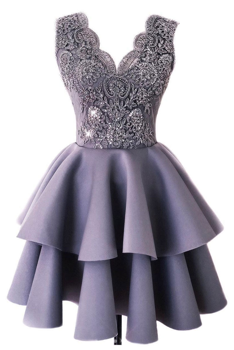 Cute lace v neck short prom dress, gray homecoming dress