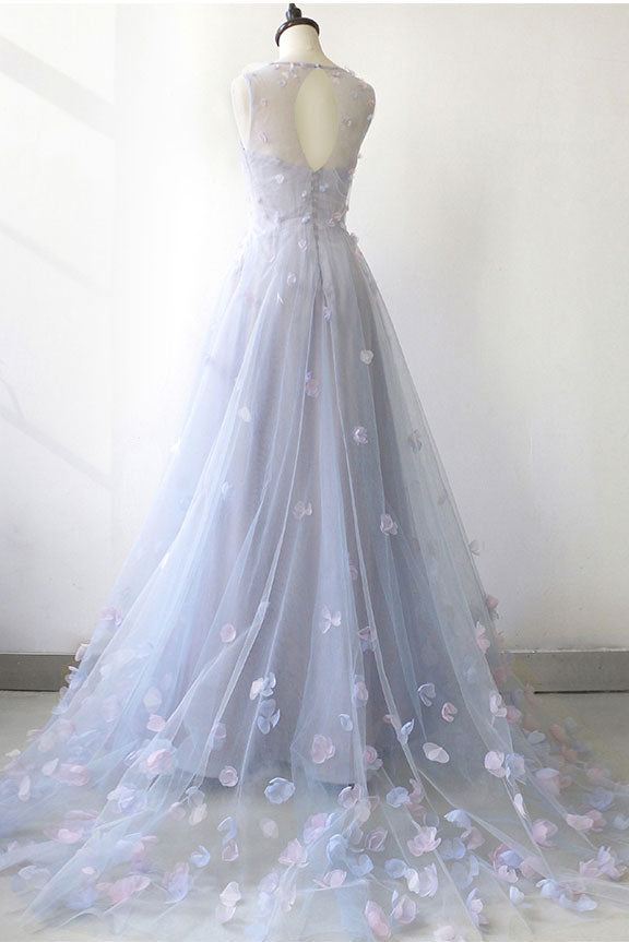 Simple round neck tulle long prom dress, gray tulle evening dress