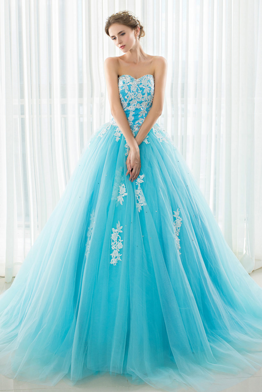 5ae10855ee9 Blue tulle lace applique long prom dress, blue evening dress