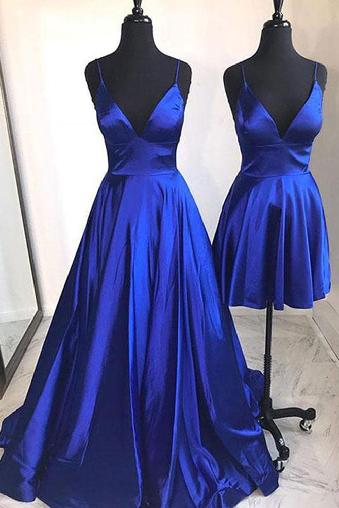 Blue v neck satin long prom dress, blue evening dress