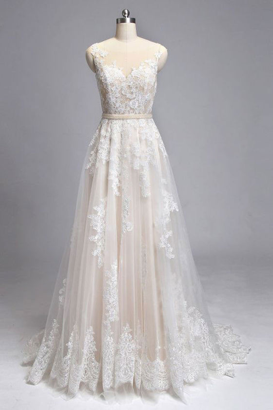 Champagne round neck tulle lace long wedding dress, champagne bridal dress