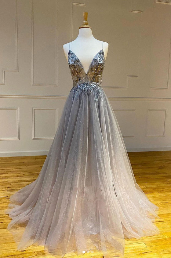 Gray v neck tulle long prom dress gray tulle formal dress