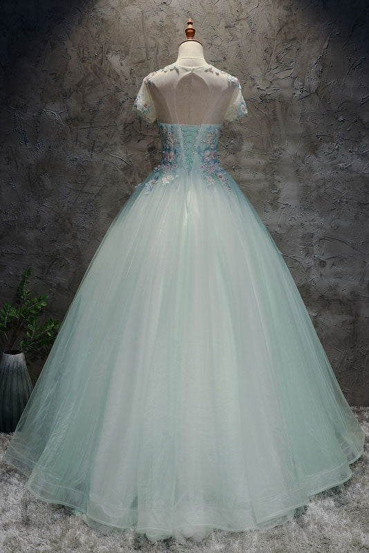 Unique light green tulle lace long prom dress, sweet 16 dress