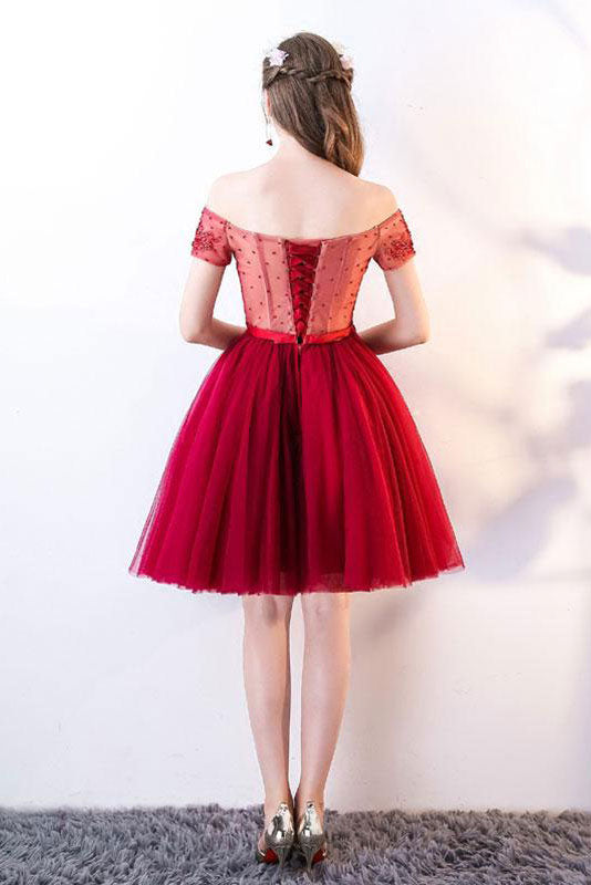 Cute burgundy tulle lace applique short prom dress, burgundy homecoming