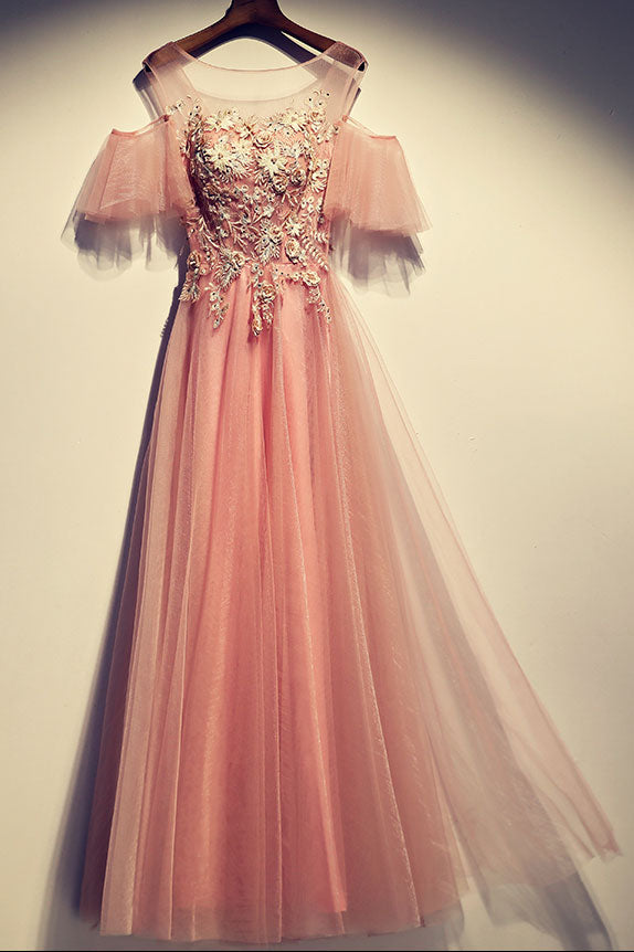 9aa79c908ad Pink round neck tulle lace long prom dress