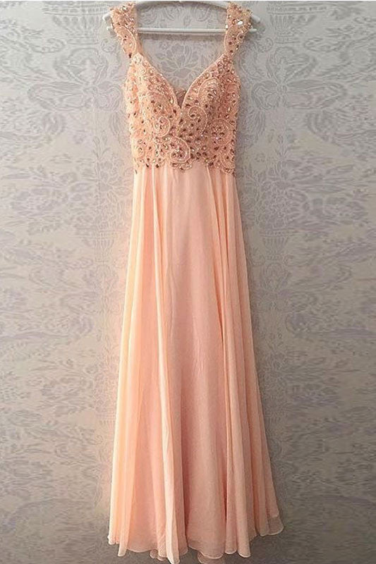 Unique pink beads long prom dress, pink evening dress