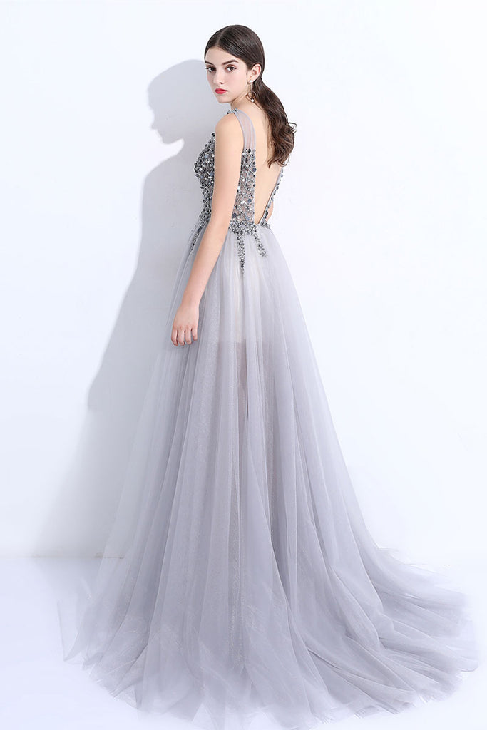 Gray v neck tulle beads long prom dress, gray evening dress